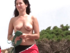 Hot nudist woman cleans her ass crack