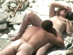 Nudist mature couple beach fuck