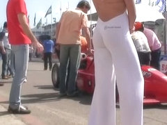 Voyeur catching a hot latina ass on a promotional girl