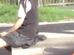 Sweet schoolgirl getting her nipples licked by some masked bloke