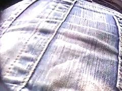 Naughty babe in short jeans skirt wears flowery panties