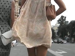 Glorious babe with perfect legs is walking like an angel