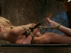Bound on screen in an amazingly tough hogtie. Finger fucked, made to cum, skull-fucked & tormented!