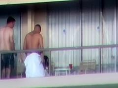 Spy clip scene of meaty brawny man fucking sexually excited angel on a balcony