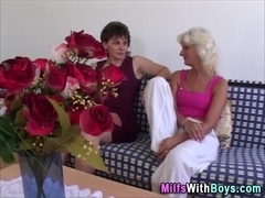 Two slutty milfs share one cock
