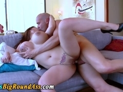 Big boobed booty assed asian beauty slammed