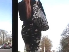 Milf ass shaking in thight pants