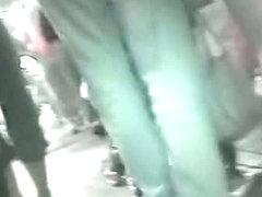 My real upskirt voyeur video of a skinny blonde teen