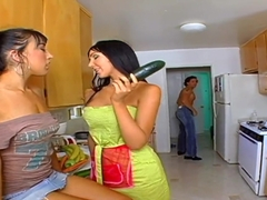 Two remarkable girls do wonderful blowjobs in front of camera