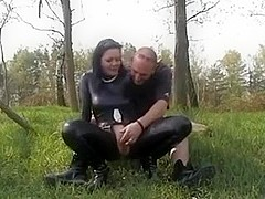 Hot german non-professional in Latex outdoor