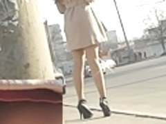 High heeled cutie hot lengthy legs upskirt