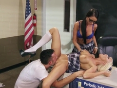 Raven and another girl fucking in the classroom