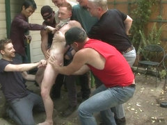 Bound in Public. Lazy employee abused and humiliated by coworkers at Stompers Boots