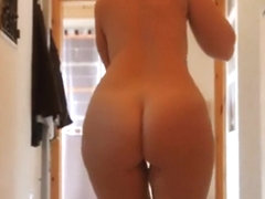 Perfect thick girl mops the floor