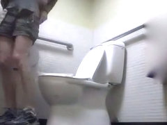 Skinny girl on the toilet in this pissing candid video