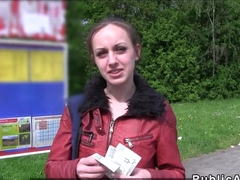 Small tittied Czech bangs in public