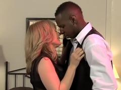 Exotic pornstar Nina Hartley in amazing stockings, interracial adult movie