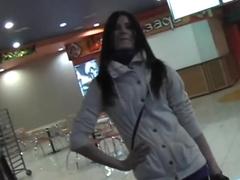 Amateur brunette Nika gets boned in public