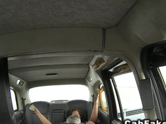 Brit amateur fucked from behind in cab