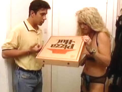 German MILF in stockings wants some fun with the pizza boy