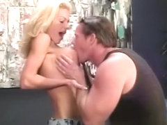 Gorgeous blonde mom with perfect big tits gets fucked by a muscled guy