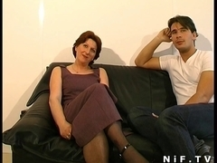 French bushy cougar squirts n receives anal drilled n facialized