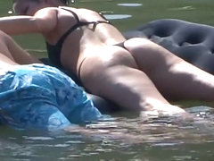Floating with her ass in the air