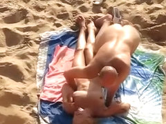 Bald man screws nudist blonde
