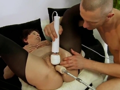 Nasty granny is getting fucked by sex devices