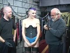 Hawt S&M goth hottie receives gazoo spanked with spiked paddle untill bloody by 2 chaps