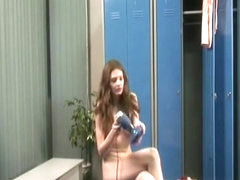 Skinny brunette caught in locker room