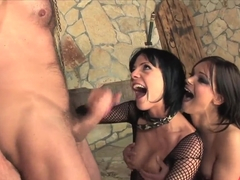 Two brunettes Aliz and Jeny Baby fucking with his friend in his mysterious cellar