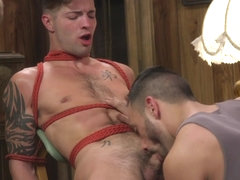 Casey Everett in Two Dudes Repeatedly Work Casey Everett's Cock To The Brink - BoundGods