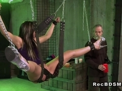 Bound with spread legs in full split sub gets waxed