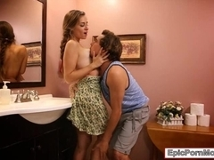 Slutty Cassidy Klein works on big cock in the rest room