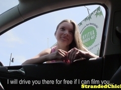 Innocent hitching teen banged pov doggystyle