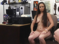 Hot and brunette dominatrix gets her pussy fucked in Shawns office