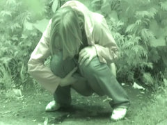 Long haired blonde took off jeans and got on voyeur piss cam
