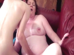 Pregnant amateur fucks her skinny boyfriend until he cums on her tits