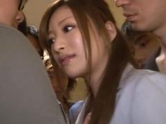 Gorgeous Office Girl Karen Fujiki Jizzed On In A Gangbang