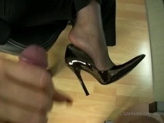 stocking footjob with jizz flow in high heels