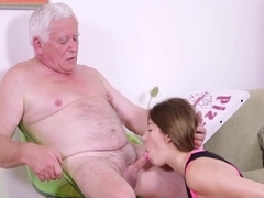 Old man fucks with beautiful pretty