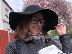 Czech beauty with big booty bangs outdoor pov