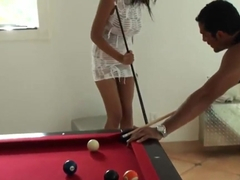 Layla Terrace gets aroused during pool game