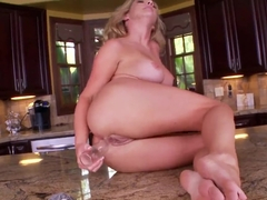Yummy hot blonde chick Ainsley Addison is having naughty masturbation on the kitchen counter with .
