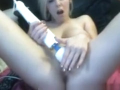Blonde Mom with big boobs toying and cumming