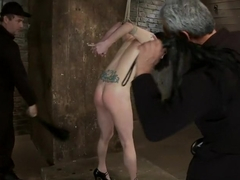 Brutal Elbow and crotch rope suspension.Caned, severely flogged and made to cum, left to suffer.