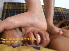 Face Trample Biggest angel vs diminutive thrall footfetish domination