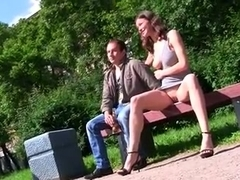 Horny Russian gf show off natural tits in public places