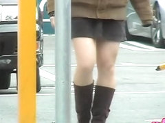 Glamorous bimbo wearing short skirt gets in the middle of sharking